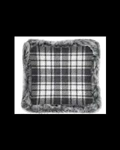 Christmas Printed Cushions with Faux Fur Trim ~ Grey Plaid