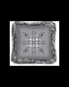 Christmas Printed Cushions with Faux Fur Trim ~ Grey Snowflake