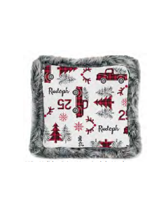 Christmas Printed Cushions with Faux Fur Trim ~ Holiday Print