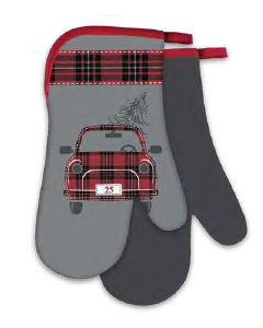 Christmas Printed Oven Mitts ~ Holiday Truck