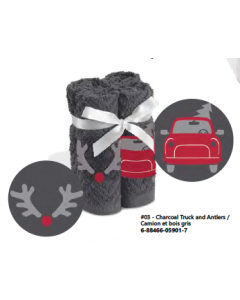Christmas Embroidered Facecloth Sets - 4 per pack ~ Charcoal Truck & Antlers