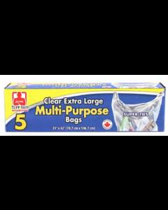 Tuff Guy Extra Large Multi-Purpose Clear Garbage Bags ~ 5 per box