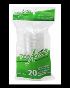 Table Accents Clear Plastic Mini Cups & Lids - 2oz ~ 20 per pack