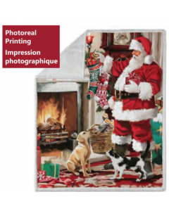 Christmas Photoreal Throws with Sherpa Back ~ Santa's Friends