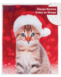 Christmas Photoreal Throws with Sherpa Back ~ Festive Kitty
