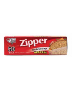 "Chef Elite Zipper Sandwich Bags - 6.5"" x 6"" ~ 50 per box"