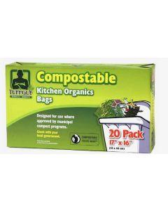 "Tuff Guy Compostable Kitchen Organics Bags - 17"" x 16"" ~ 20 per pack"