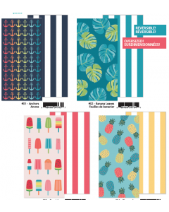 Oversized Reversible Printed Beach Towels ~ 4 assorted