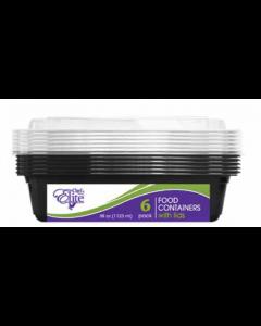 Chef Elite Rectangular Plastic Food Container w/Lids ~ 38oz - 6 per pack