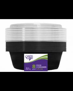 Chef Elite Round Plastic Food Container w/Lids ~ 32oz - 8 per pack