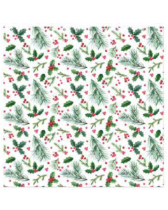 Christmas Water Resistant Shower Curtain with Hooks ~ Holly Berries