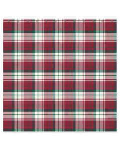 Christmas Water Resistant Shower Curtain with Hooks ~ Classic Holiday Plaid