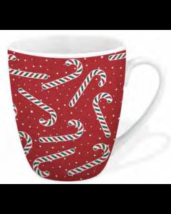 Christmas Festive Printed Mug - 12oz / 360ml ~ Candy Canes
