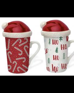Christmas Festive Mugs with Shaped Lids - 14oz / 420ml