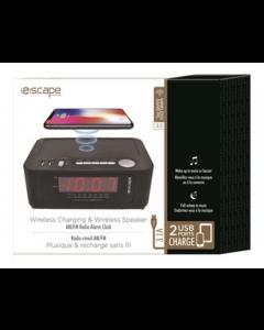 Escape Wireless Charging Digital Alarm Clock with 2 USB Ports & AM/FM Radio