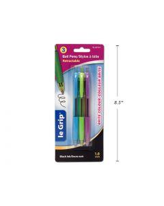 "Selectum Retractable ""Brite"" Pens w/Grip - Black Ink ~ 3 per pack"