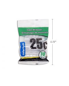 Plastic Coin Wrappers - 25 Cent ~ 10 per bag