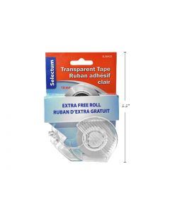 Selectum Transparent Tape w/Cutter ~ 18mm x 25m with Bonus Roll