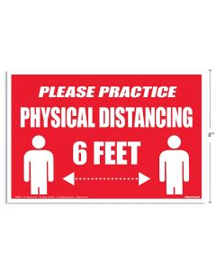 """Physical Distancing Signage - 8"""" x 12"""" ~ English"""