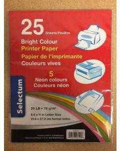 Selectum Colored Printer Paper - Letter Size ~ 25 / sheets