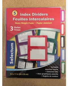 Selectum Index Dividers with Assorted Charts ~ 5 per pack
