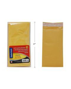 """Selectum Kraft Peel-N-Seal Bubble Envelopes - 4"""" x 9"""" ~ 4 per pack"""