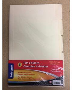 Selectum Legal Size File Folders ~ 5 per pack