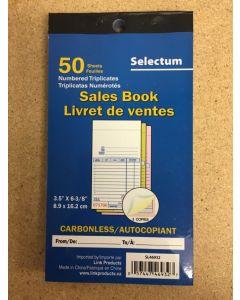 Selectum Tri Carbonless Sales Book ~ 50 sheets