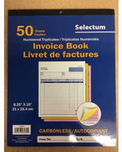 Selectum Tri Carbonless Invoice Book ~ 50 sheets