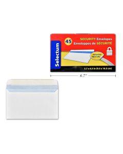 Selectum White Envelopes #8 w/SECURITY lining - Peel N Seal ~ 40 per box
