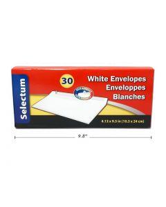 Selectum White Envelopes #10 - Peel N Seal ~ 30 per box