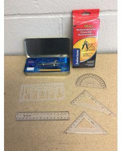 Math Set in Metal Box ~ 10 pieces