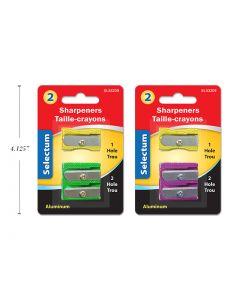 Selectum Aluminum Colored Pencil Sharpeners ~ 1 Hole + 2 Hole