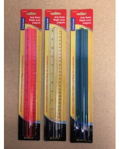 "Selectum Clear Grip Plastic Rulers ~ 30cm / 12"""