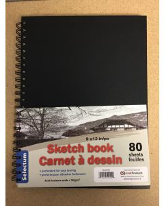 "Selectum Hard Cover Sketch Book - 9"" x 12"" ~ 80 sheets"