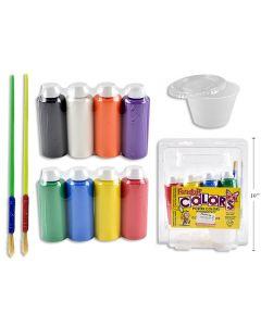 Tempera Liquid Paint 4oz x 8 colors + 2 Paint Brushes + No-Spill Pot