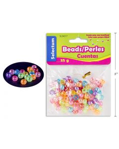 Selectum Laser Color Round Plastic Beads (45gr) + 1M Clear String