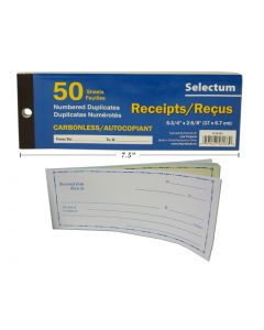 Selectum Duplicate Carbonless Receipt Book ~ 50 pages