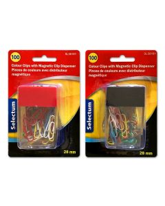 Selectum Colored Paper Clips - 28mm in Magnetic Dispenser