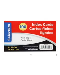 "Selectum Index Cards 3"" x 5"" - Plain - White ~ 100 per pack"