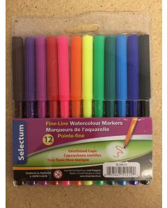 Selectum Fine-Line Water Color Markers ~ 12 per pack
