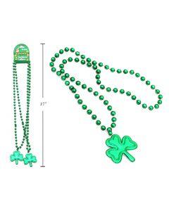"St. Patrick's Shamrock Beaded Necklace - 32""L ~ 2 per pack"