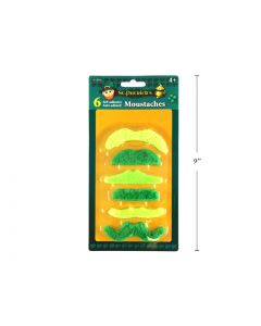 St. Patrick's Day Self-Adhesive Green Moustaches ~ 6 per pack