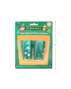 St. Patrick's Day Plastic Shot Glasses ~ 4 per pack
