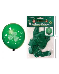"""St. Patrick's Day Printed Balloons - 12"""" ~ 8 per pack"""