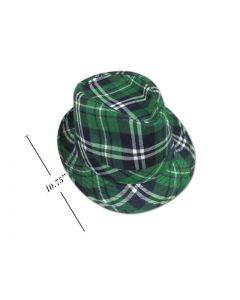 St. Patrick's Day Green Plaid Fedora Hat