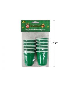 St. Patrick's Day Disposable Green Beer Cup Shot Glasses - 2oz ~ 20 per pack