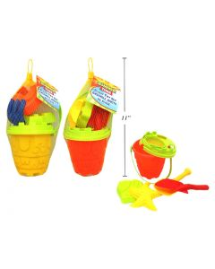 Beach Toy Set with Pail ~ 6 pieces