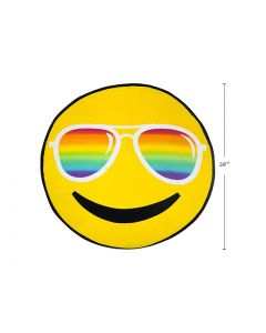 "Smiley Face Print Round Beach Towel - 60"" Diameter ~ in PVC Bag"