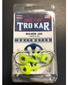Eagle Claw 1/2oz Saltwater Box Jig with Eyes + 4/0 Hook - 3/pk ~ Chartruese